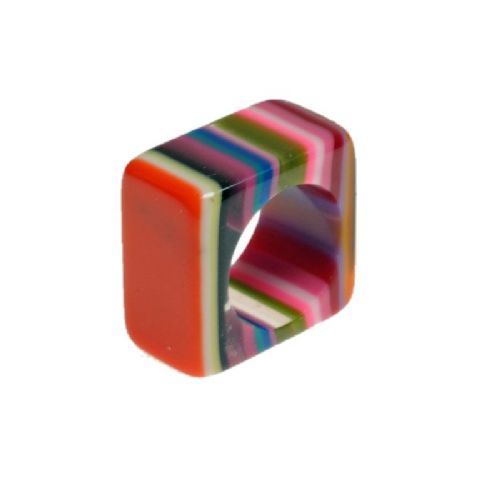 Jackie Brazil Liquorice Square Ring in Mix Colours
